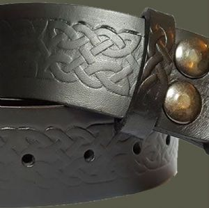 Celtic Embossed Italian Leather Black Belt With Buckle 1.5 inches wide